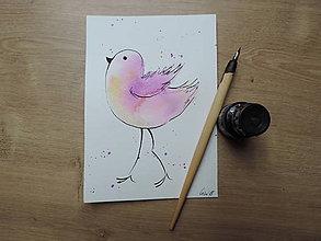 Kresby - Fialový vtáčik III. - 9765668_