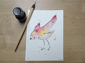 Kresby - Rúžovožltý vtáčik I. - 9765777_