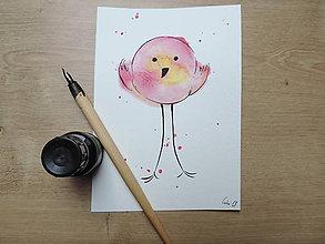 Kresby - Rúžovožltý vtáčik II. - 9765781_