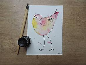 Kresby - Rúžovožltý vtáčik III - 9765792_