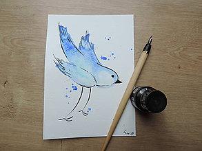 Kresby - Modrý vtáčik I. - 9765796_