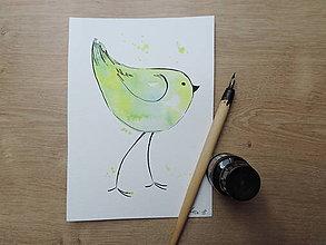 Kresby - Zelený vtáčik III. - 9765866_