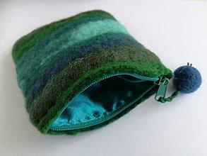 Peňaženky - Plstená peňaženka vo farbách vody - 9770022_