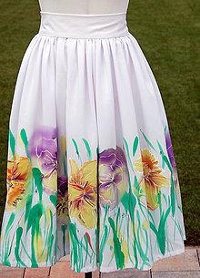 Sukne - Ručne maľovaná sukňa - 9770085_