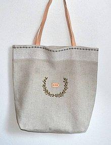 Veľké tašky - Veľká obojstranná taška-s koženými rúčkami - 9770034_