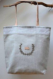 Veľké tašky - Veľká obojstranná taška-s koženými rúčkami - 9770036_