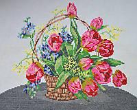 Obrázky - poctivá ručná výšivka - košík plný kvetov - 9770161_