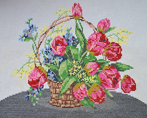 poctivá ručná výšivka - košík plný kvetov