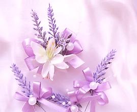 Darčeky pre svadobčanov - svatební brož levandulová - 9767843_