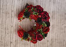 Ozdoby do vlasov - Červeno-čierna kvetinová čelenka z kolekcie pre Lydiu Eckhardt - 9769700_
