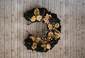 Ozdoby do vlasov - Čierna kvetinová parta - 9769881_