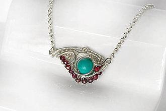 Náhrdelníky - náhrdelník wrap vlnka s tyrkysom a rubelitmi / Ag - 9768730_
