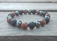 Šperky - Náramok - láva, hematit, drevené korálky - 9767677_