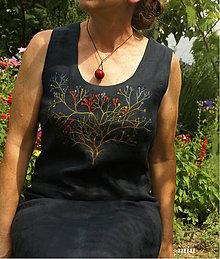 Šaty - Ľanové šaty tmavomodré, ručne maľované (gypsomilka) - 9769122_