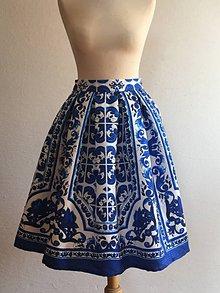 Sukne - slávnostná sukňa Blue Flower - 9767925_