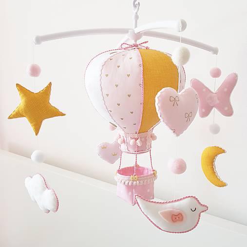 Detské doplnky - Kolotoč nad postielku ružovo horčicový - 9767767_