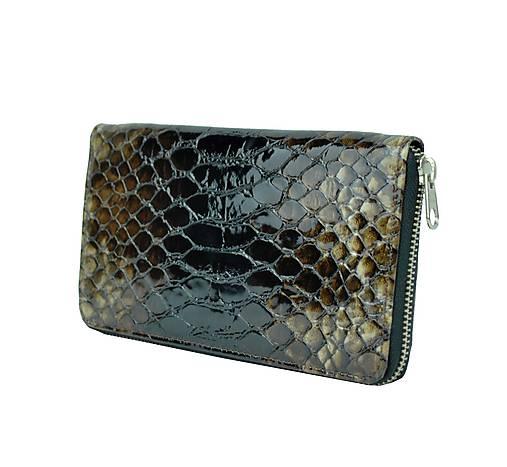 29dfc38b3 Dámska kožená peňaženka so vzorom hadiny v hnedej farbe / Kozena ...