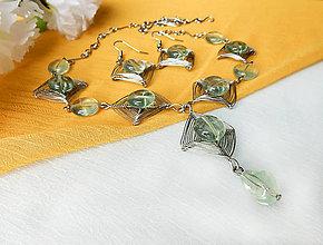 Sady šperkov - Náhrdelník a náušnice z fluoritu a drôtu. - 9768223_
