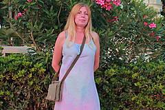 Šaty - Romantické batikované ľanové šaty - 9769149_
