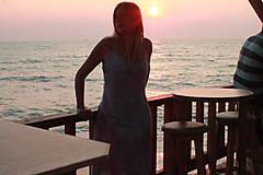 Šaty - Romantické batikované ľanové šaty - 9769153_