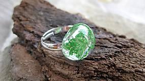 Prstene - Živicový prsteň s kvietkami (zelené kvietky č. 2237) - 9770368_