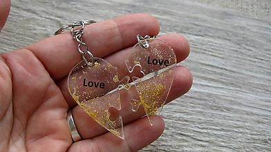 Kľúčenky - Kľúčenka pre pár puzzle srdce (LOVE, č. 2236) - 9770336_