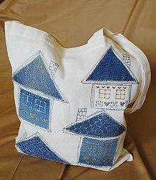 Nákupné tašky - Nákupná taška ľanová s riflovinou-Domčeky - 9767394_