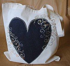 Nákupné tašky - Nákupná taška ľanova s riflovinou-Srdce - 9770411_