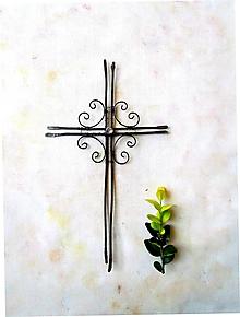 Dekorácie - tepaný krížik * 24 cm - 9768513_