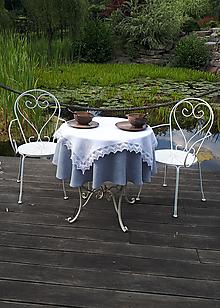 Úžitkový textil - Ľanový obrus Cottage Style (100x100 cm - Biela) - 9770102_