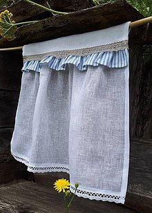 Úžitkový textil - Ľanová záclonka Mediteran Style - 9770170_