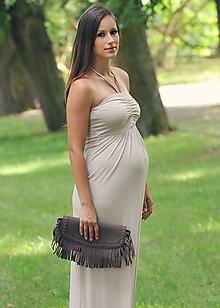 Tehotenské/Na dojčenie - Variabilné dlhé šaty - krémové i v barvách - 9767793_