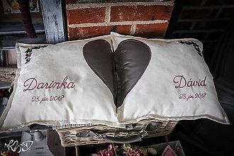 """Úžitkový textil - Svadobné vankúšiky """"Darinka a Dávid"""" - 9773565_"""