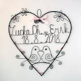 Dekorácie - svadobné srdiečko 25 cm s dátumom a menami (Ružová) - 9771377_