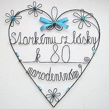 Iné - veľké srdce k narodeninám, k výročiu svadby....... (Modrá) - 9771410_