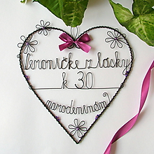 Iné - veľké srdce k narodeninám, k výročiu svadby....... (Fialová) - 9771425_
