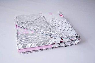 Textil - Ružovo-sivá prešívaná deka s barančekom - 9771204_