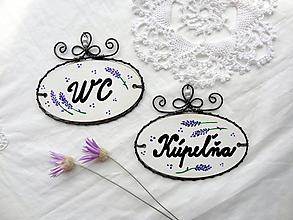 Tabuľky - kúpeľňa + WC...folk tabuľka - menovka, levanduľa - 9773489_