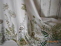 Úžitkový textil - Ľanový obrus, maľovaný, lúčne trávy a paprade... - 9771842_
