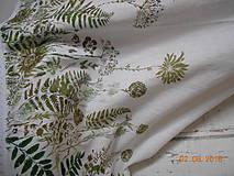 Úžitkový textil - Ľanový obrus, maľovaný, lúčne trávy a paprade... - 9771846_