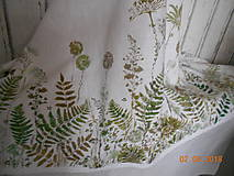 Úžitkový textil - Ľanový obrus, maľovaný, lúčne trávy a paprade... - 9771847_