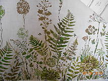 Úžitkový textil - Ľanový obrus, maľovaný, lúčne trávy a paprade... - 9771849_