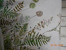 Úžitkový textil - Ľanový obrus, maľovaný, lúčne trávy a paprade... - 9771850_