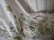 Úžitkový textil - Ľanový obrus, maľovaný, lúčne trávy a paprade... - 9771851_