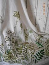 Ľanový obrus, maľovaný, lúčne trávy a paprade...
