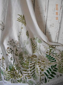 Úžitkový textil - Ľanový obrus, maľovaný, lúčne trávy a paprade... - 9771926_