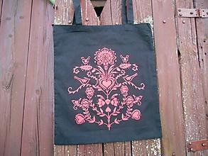 Nákupné tašky - folk taška čierna s červeným vzorom - 9771900_