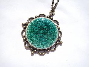Náhrdelníky - Náhrdelník keramický/bronz - 9771667_