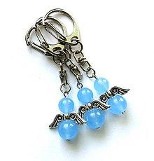 Kľúčenky - Minerálový anjelik -Jadeit modrý svetlý - 9771226_