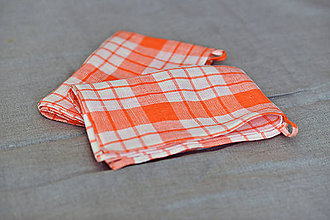 Úžitkový textil - Ľanová utierka na riad, oranžovo-biela - 9772115_
